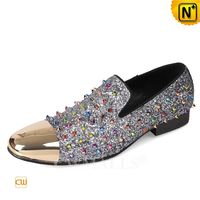 Haute Couture | Men Spike Embellished Leather Loafers CW719104 | CWMALLS.COM