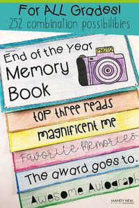 I wanted my students to create an end of the year memory book that they would want to keep. Something that didn't look like a worksheet that they stapled togeth