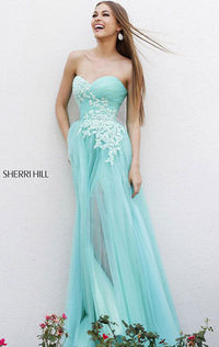 Sherri Hill 11114 A-Line Blue/Green Floral Strapless Tulle Long Dress