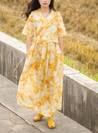 Women's linen dress, Yellow linen dress, Linen tunic, Linen Dresses for woman, Linen dress, Lace print dress, Summer dress