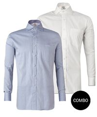 Blue Chambray and White Twill Cotton Shirt Regular Fit Combo Pack �'�2098.00