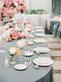 A destination wedding set in the South of France with pink peonies and, peach colored roses and crisp, white hydrangeas dressing up the day.