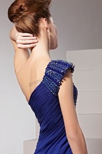 Blue One Shoulder Chiffon A-line Beaded Ball Prom Dress BY392