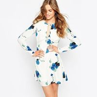 Sweet Printed Slimming Floral 9/10 Sleeves Dress Skirt - Bonny YZOZO Boutique Store