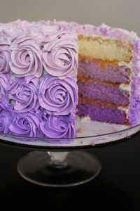 ombre cake, purple cakes and rose cake.