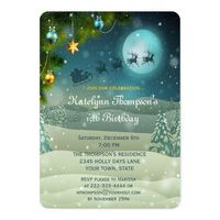 Winter Night Festive Birthday Invitation