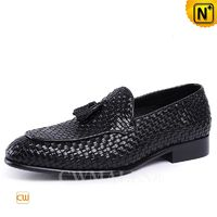 CWMALLS® Paris Men Woven Leather Tassel Loafers CW708117 [Handmade, Custom Made Gift]