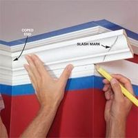 Crown molding can be intimidating, because walls often aren't flat and nailing is difficult. Don't worry. This three-piece system solves those problems. Here we