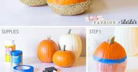 Today we have Christine from Hello Fashion sharing a sophisticatedly-spooky Halloween decor DIY: Glitter Pumpkins! This easy tutorial is the perfect way to get