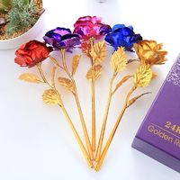 Romantic 24K Golden Rose Flower Wedding Festive Party Decoration 6Pcs Without gift box/1Pcs With gift Box $4.00