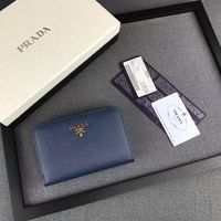 Prada 1M1225 Lettering Logo Saffiano Leather Wallet In Blue