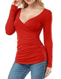 Women Open V Front Wrap Pleated Slim Top Tee Long Sleeve Ruched T Shirt $35.95
