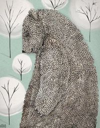 Bear Illustration by Black Bunny - so perfect for our blustery cold spring weather! See more at SmallforBig.com #kids #art #decor #illustration