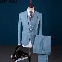 LEFT ROM 2018 Male Fashion business Men's leisure wedding dress three-piece man high quality $172.60