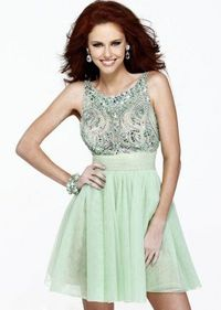 Lovely Bow Cutout Back Short Green Rhinestone Prom Dress