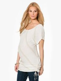 Jessica Simpson Short Sleeve Scoop Neck Button Detail Maternity Tunic