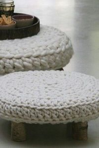 #Knitted - cover for a foot stool http://www.mycraftkingdom.com