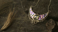 Sterling Silver Surface- Pendant Crescent Moon with iridescent stain glass. Modern juwelry. Necklace- elfin Luna for elf costume, cosplay $64.00