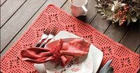 "Spiderweb Place Mat: The spiderweb stitch pattern works up into a versatile set of place mats that may be used in any table setting from casual to formal. This e-pattern was originally published in Crochet Around the Home. Size: 21"" x 16 1/2"". M..."