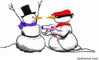 Funny Christmas joke between snowmans