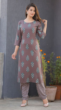 Beautiful Sky Brown Cottan Bandej Print kurti with plazzo for Indian traditional dress for girls and woman $29.50
