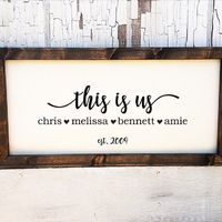 "Personalize this stylish farmhouse sign, featuring the last name of your choice, family member names and year established. You also may choose to forgo the last name for the phrase ""This Is Us"". You will be able to select which one in options. E..."