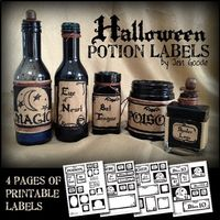 Halloween - Printable Halloween potion labels by Jen Goode - Halloween decor - potion labels - printables #halloween #printables #potionlabels