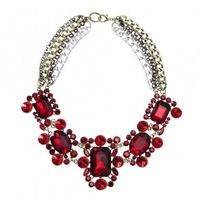 Charm Jewelry 4 layer Chain Fashion Crystal Glass Chunky Statement Bib Necklace