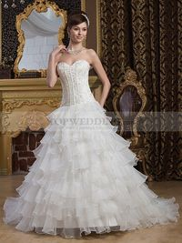 SATIN BALL GOWN WITH TIERED SKIRT AND BEASED EMBELLISHMENTS