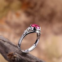 Red Corundum Inlay Ring / 925 Silver Open Ring / Wedding Ring / Fresh Lady Solitaire Rings/Girlfriend Gift Ask a question