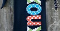 Hand appliqued navy newborn baby gown with aqua chevron and orange dots for going home outfit