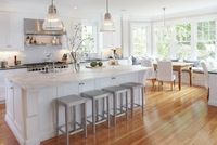love the kitchen and cozy bench/window seat area
