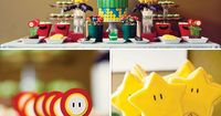A Super Mario Brothers birthday party with Fire Flower brownie bites, gold star cookies, Bob-omb truffle pops, Piranha Plant glasses, mushroom benches + chocola