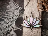 Big Lotus 7 wings, Boho Lotus, Flower Pendant, Mantra Necklace, Glass Lotus Necklace, Iridescent necklace, Stain glass, Handcraft, Handmade $16.00
