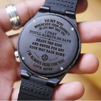 Mum To Son To My Son Wherever Journey In Life May Take You Pray Be Safe Never Forget Your Way Back Home Love Mum Engraved Wooden Watch Gift $69.97