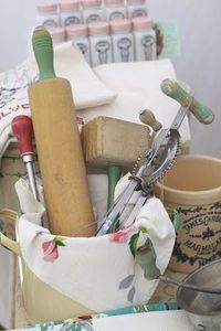 vintage kitchen - This is why I can't get anything done. Saw this and had to jump up, go get my red and tan tiny checked dish towel and line my crock with old utensils in it. Love this so I did it!!!
