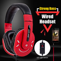 Flexible Gaming Headphone 3.5mm Wired LED Light Heavy Bass Stereo Headphone Over Ear Headset