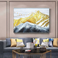Gold Leaf Snow mountains Peaks Acrylic paintings on canvas modern abstract heavy texture extra large wall art wall pictures Home Decor $148.75