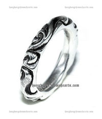 Cheap Fashion Chrome Hearts Scroll Band Real 925 Siver Ring