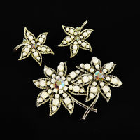 White Flower Brooch & Earrings Set, with Silver tone Settings and White Faceted Ball Beads and Aurora Borealis Rhinestones Vintage 1950s $59.00