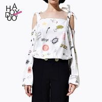 Fall 2017 women new fashion cute prints the word strap-tie t shirt - Bonny YZOZO Boutique Store