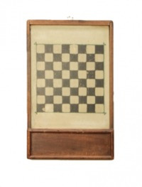 Early 20th century checkers game board with slide away drawer and checkers pieces