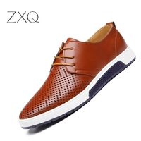 New 2017 Summer Brand Casual Men Shoes Mens Flats Leather Shoes Man Breathing Holes Oxford $51.02