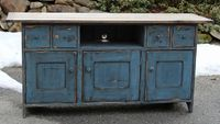 black milk painted furniture | ... painted in soldier blue over black milk paint with stained and oiled