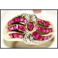 Genuine Diamond and Ruby Ring Real 18K Yellow Gold [RF0007]