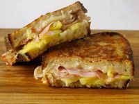 Pineapple, ham and cheese= Hawaiian grilled cheese sandwich.