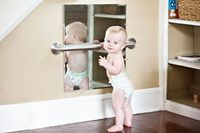 I LOVE this! Great for babies and budding dancers alike! I also felt bad we didn't have mirrors for E and T like we did for N.