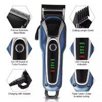 SURKER Barber Salon Electric Hair Clipper Rechargeable Trimmer Beard Body Shaver Grooming Razor LED Display Steel Blade Washable