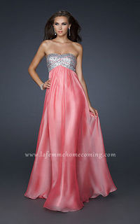 La Femme 17513 Sexy Coral Sequined Bodice Strapless Long Prom Dresses Discount