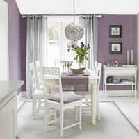 Pretty color -- SW6549 - Sherwin Williams : Ash Violet - try to ignore all of the tacky grandma white accents.....picture it with the warm woods of your dining room set.....